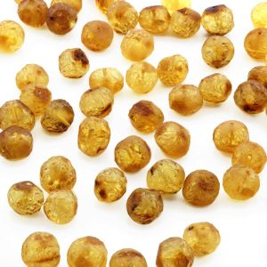 25 PCS. LOOSE BALTIC AMBER BEADS LIGHT COGNAC ROUGH BA 9X5 MM
