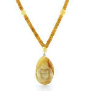 Natural Baltic Amber Necklace with Pendant 60cm 18gr. NP85