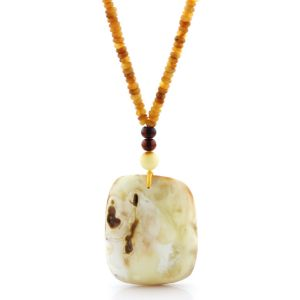 Natural Baltic Amber Necklace with Pendant 60cm 26gr. NP158