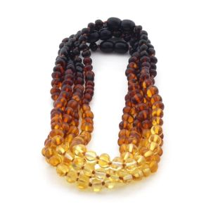 BALTIC AMBER NECKLACES FOR KIDS WHOLESALE LOT OF 5PCS. BAROQUE. XB564R2
