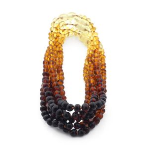 BALTIC AMBER NECKLACES FOR KIDS WHOLESALE LOT OF 5PCS. BAROQUE. XB564R1